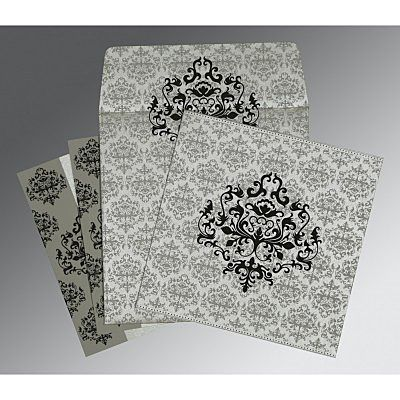 Shimmery Damask Themed - Screen Printed Wedding Card : CG-8254H - IndianWeddingCards
