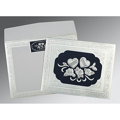 Shimmery Floral Themed - Embossed Wedding Invitation : CG-1325 - IndianWeddingCards