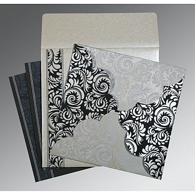 Shimmery Floral Themed - Screen Printed Wedding Card : CS-8235B - IndianWeddingCards