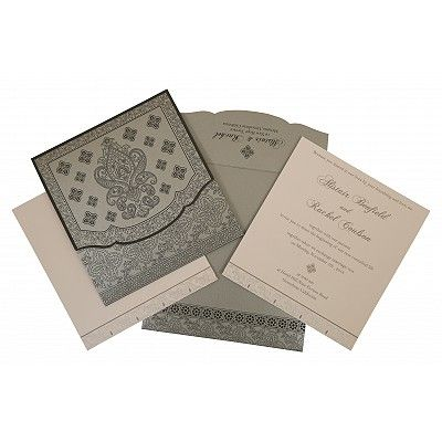 Shimmery Screen Printed Wedding Invitation : CSO-800E - IndianWeddingCards
