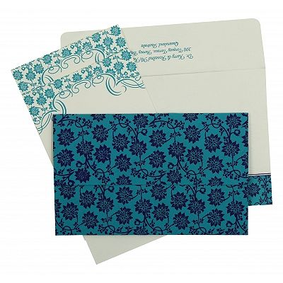 Turquoise Matte Floral Themed - Screen Printed Wedding Invitation : CIN-810E - IndianWeddingCards
