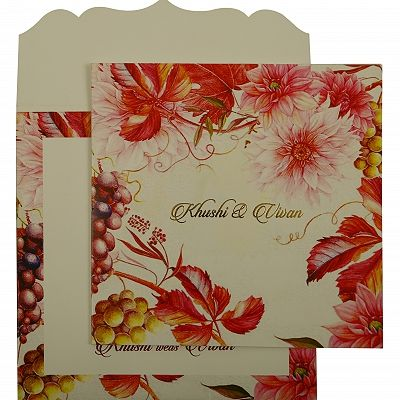 White Matte Floral Themed - Offset Printed Wedding Invitation : CW-1912 - IndianWeddingCards