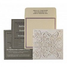 White Shimmery Paisley Themed - Laser Cut Wedding Invitation : CRU-1592