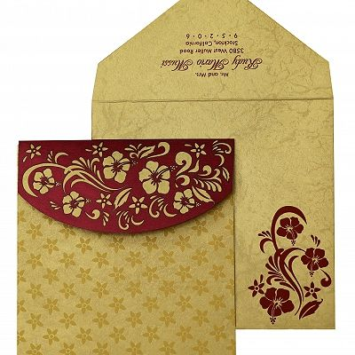 Wine Red Shimmery Floral Themed - Laser Cut Wedding Invitation : CI-828 - IndianWeddingCards