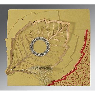 Yellow Handmade Cotton Floral Themed - Foil Stamped Wedding Card : CC-8219G - IndianWeddingCards