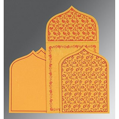 Yellow Handmade Silk Paisley Themed - Glitter Wedding Invitation : CW-8208C - IndianWeddingCards