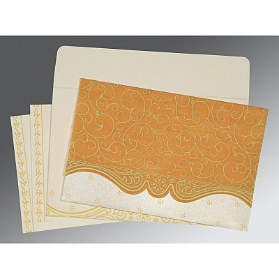 Yellow Wooly Embossed Wedding Invitation : CI-8221H - IndianWeddingCards