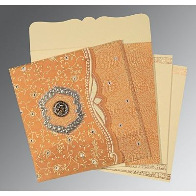 Yellow Wooly Floral Themed - Embossed Wedding Card : CRU-8209B - IndianWeddingCards