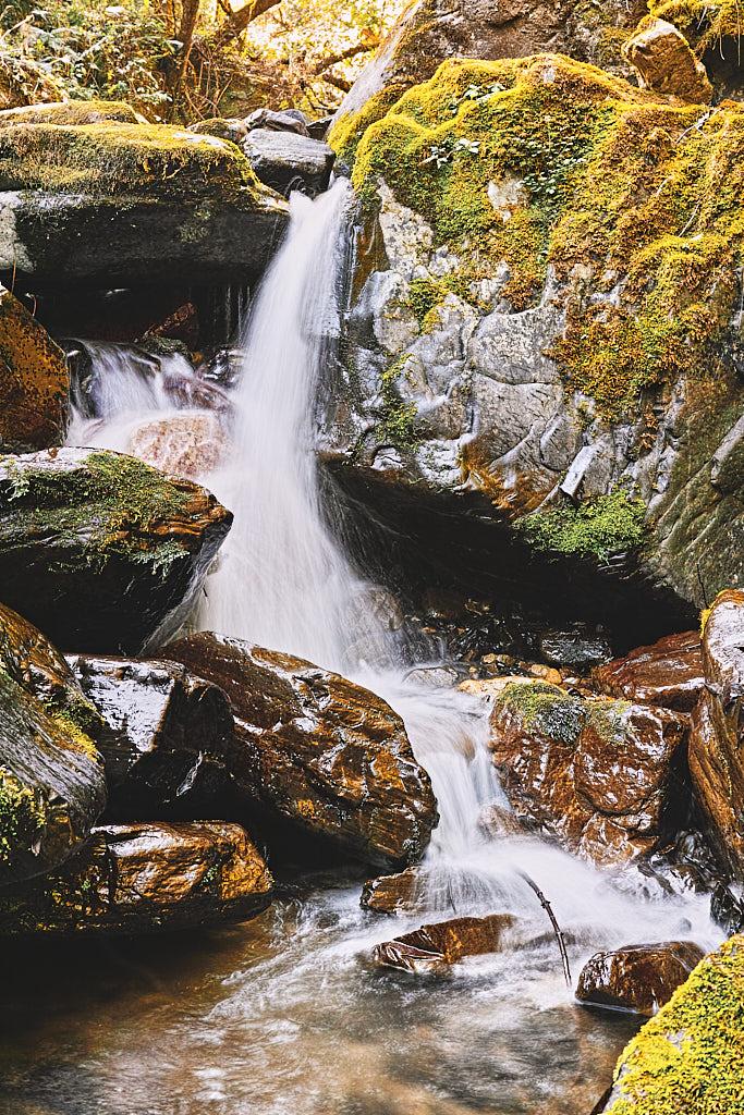 A small waterfall on the Landour to Kolti village Uttarakhand trek