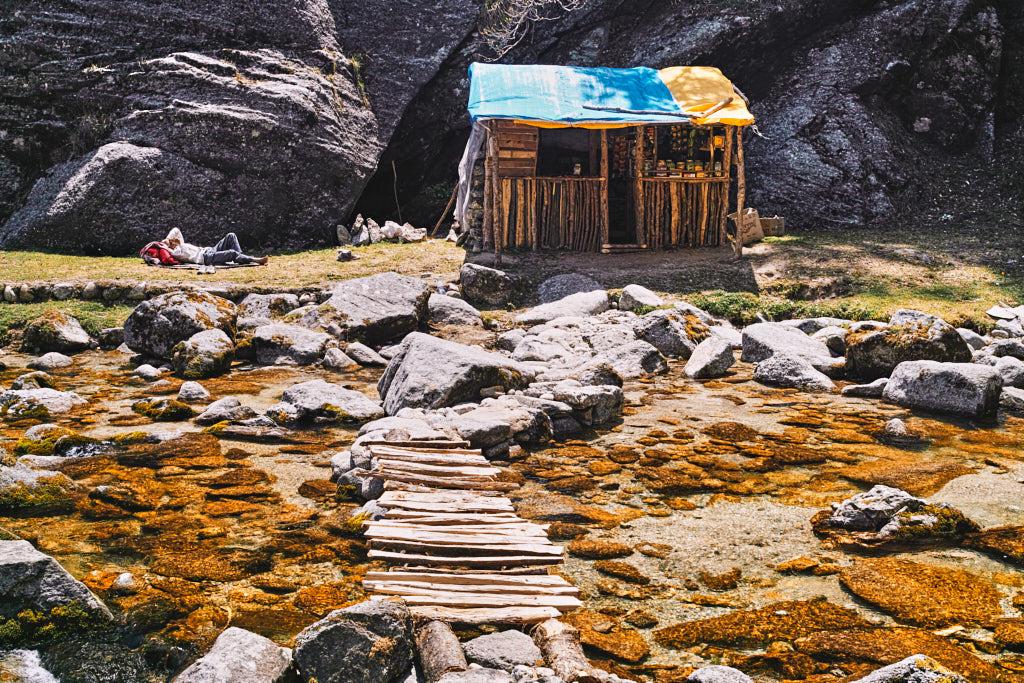 A rest stop and shop on the Kareri village to Lake (Himachal Pradesh) Trek