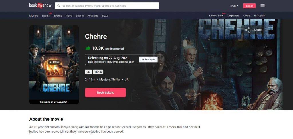 Chehre 2021 movie ticket bookmyshow