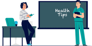 Health practitioner writing health tips on chalkboard