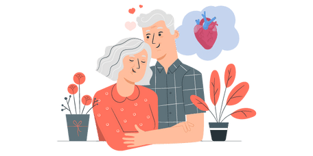 Older couple embracing one another