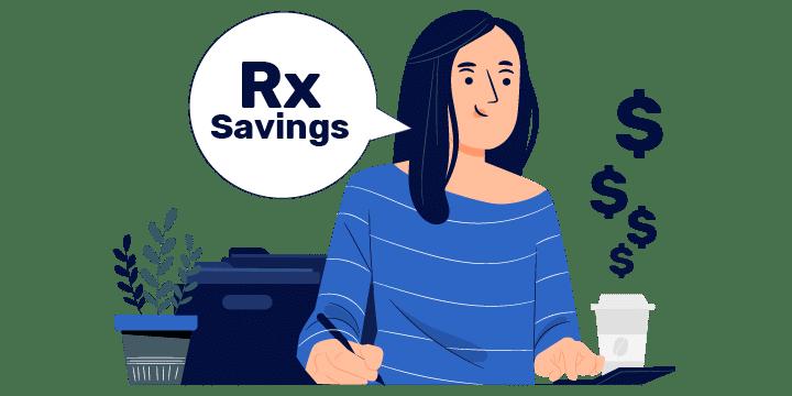 Woman using calculator for savings