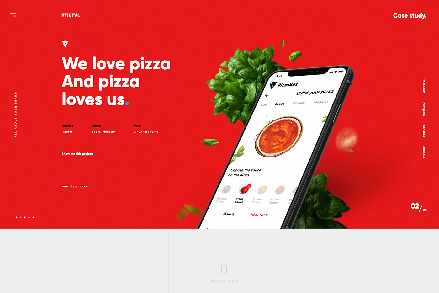 Screen sekcji PizzaBox