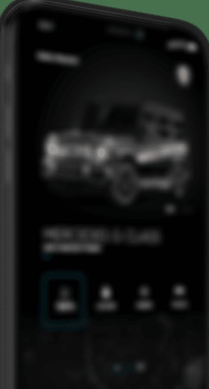 Screen przedstawiający aplikację Mercedes G Class