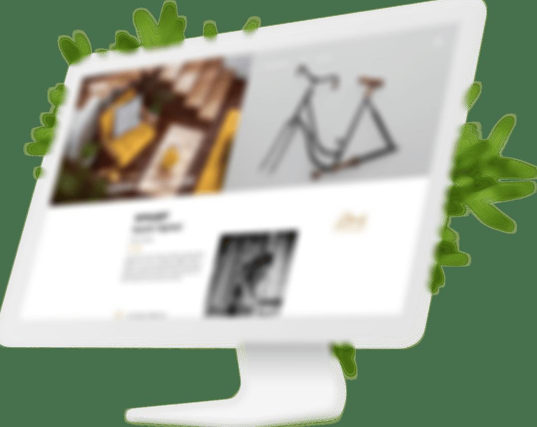 Grafika przedstawiająca monitor, który wyświetla stronę internetową NYKart.