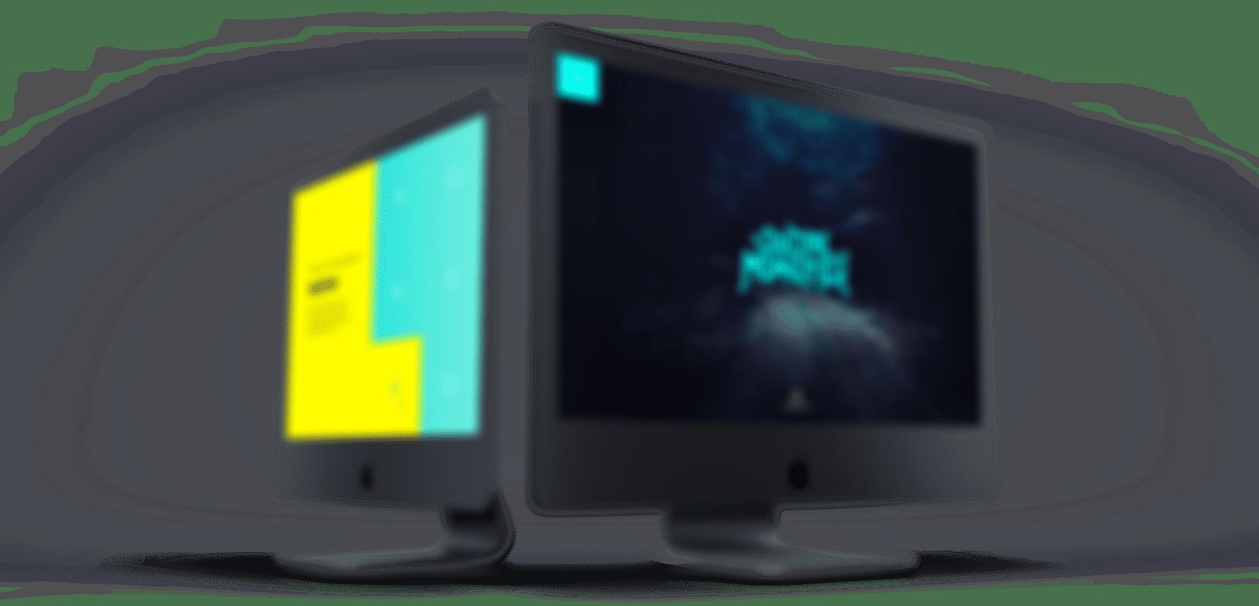 Szara grafika z dwoma monitorami.