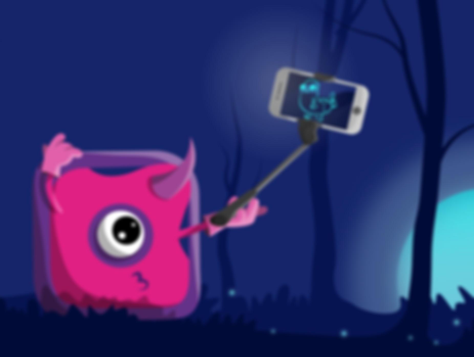 Grafika z różowym stworkiem robiącym selfie.