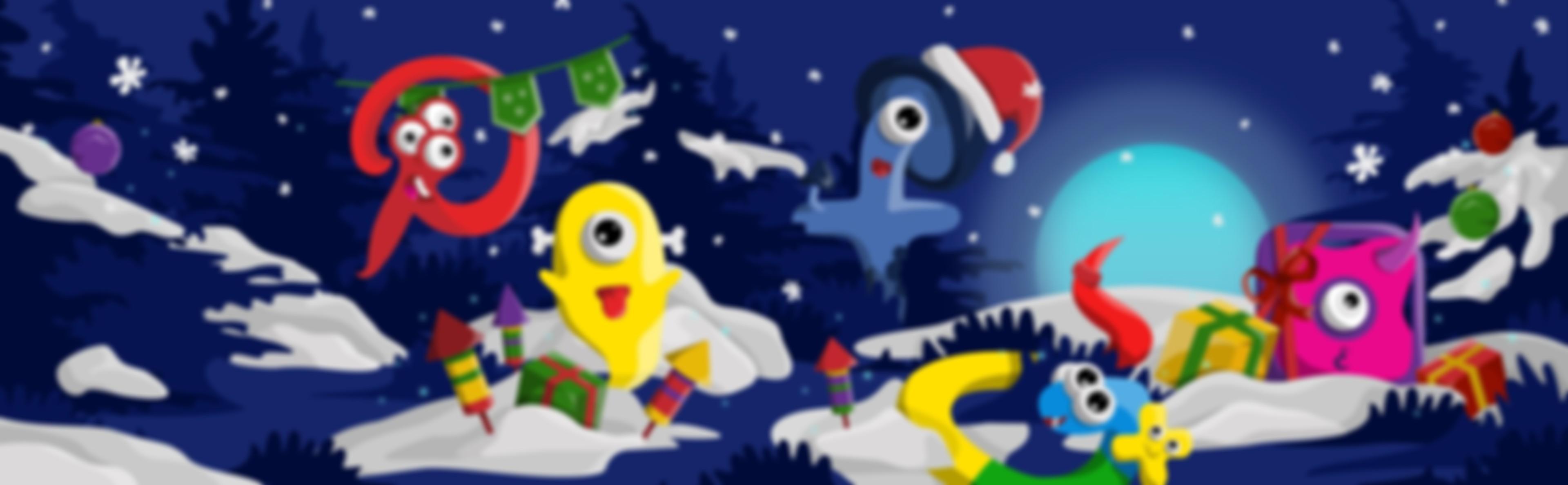 Grafika z pięcioma stworkami w śniegu.