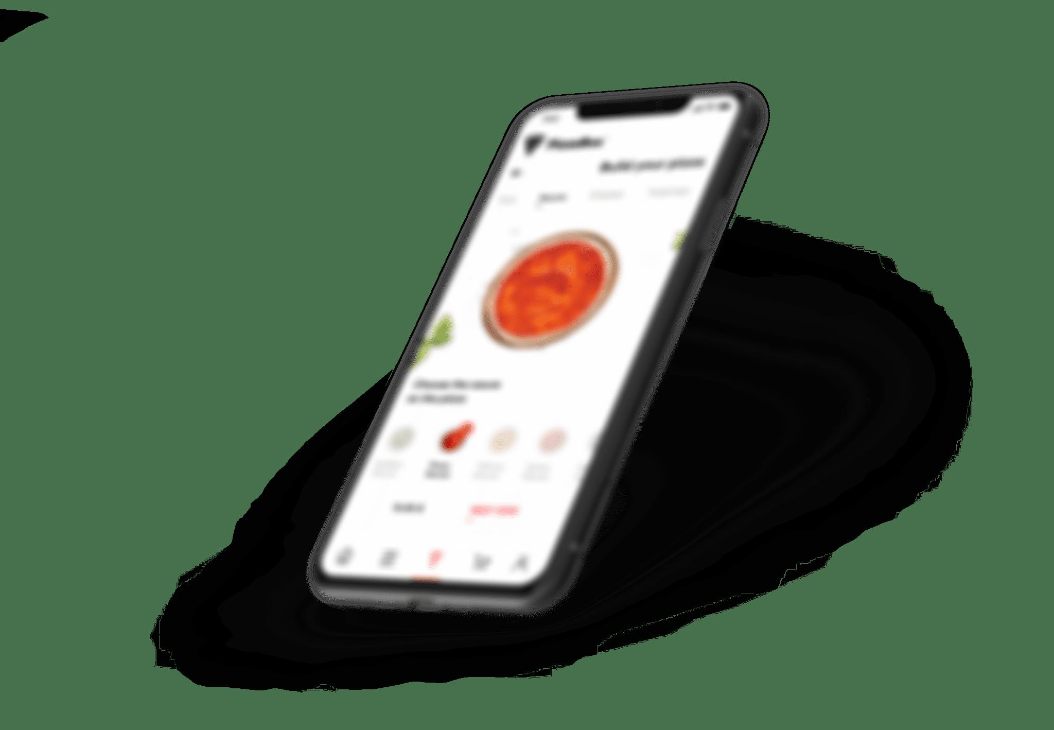 Grafika smartfona z aplikacją.