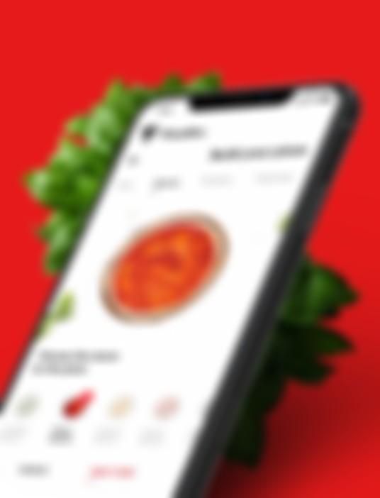 Czerwony widok aplikacji PizzaBox