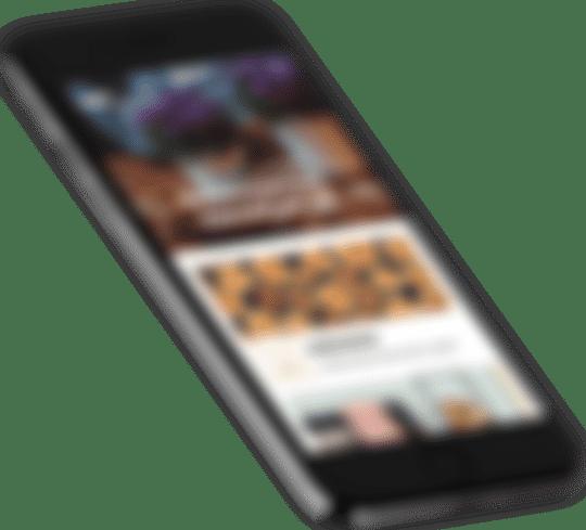 Ruchoma grafika przedstawiająca smartfon z otworzoną stroną NYKart.