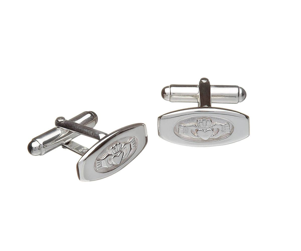Silver claddagh in window cufflinks very functional and attractive