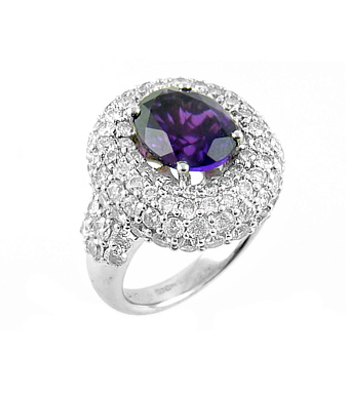 Amethyst and diamond cluster ringPictured item: amethyst: 1.00ct/diamonds: 2.85ct set in 18k white gold