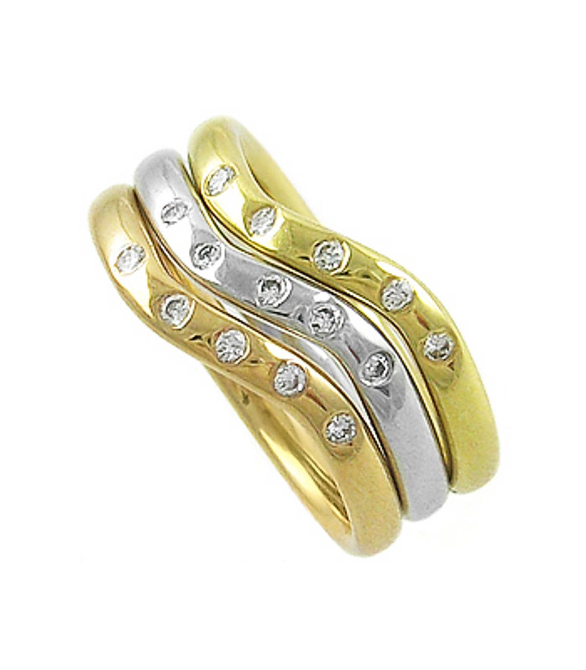 DR7026915 stone diamond 3 band ringPictured item: 0.15ct brilliant cut diamonds set in 18k red/yellow/white gold