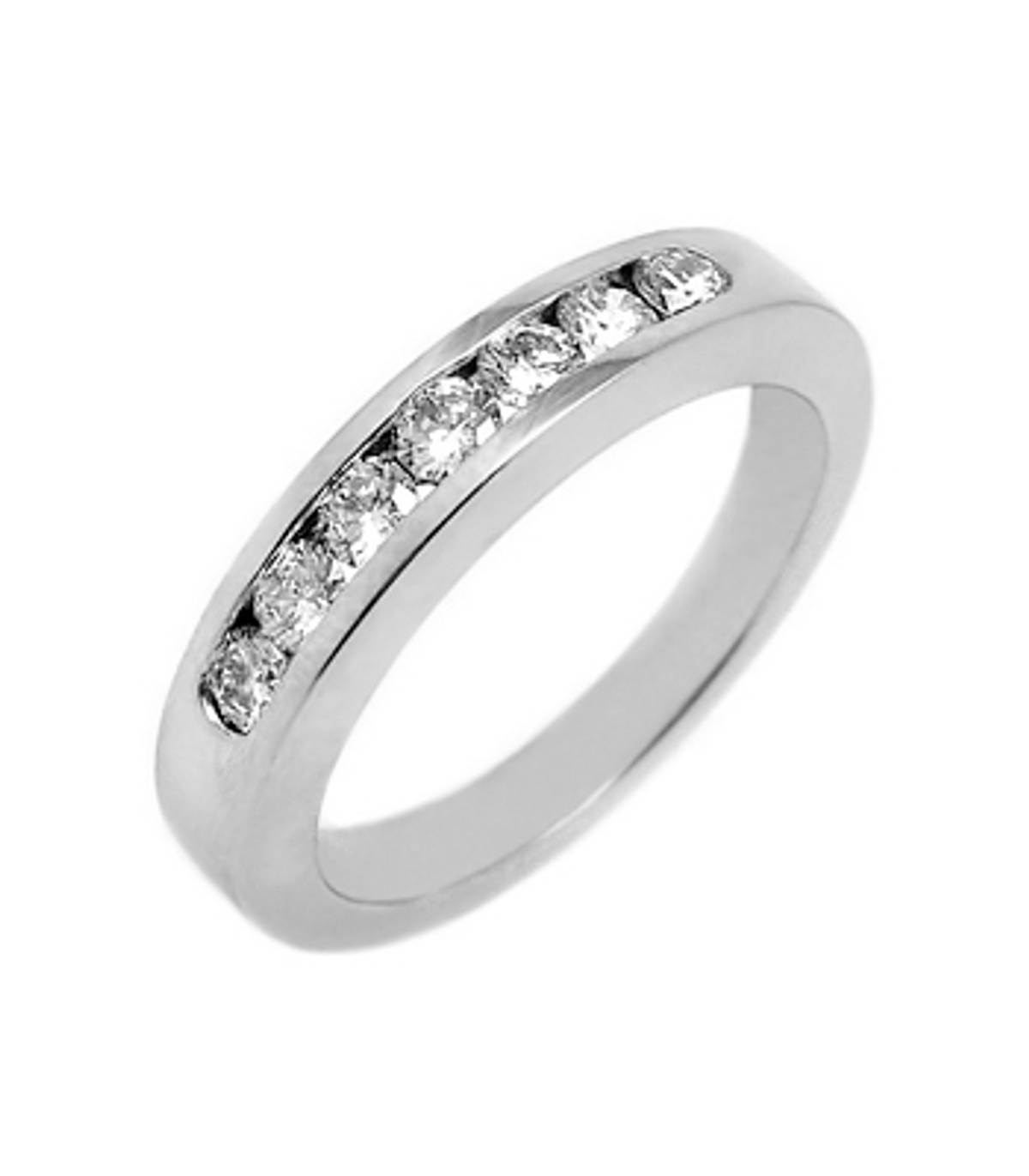18k white gold 7st brilliant cut diamond channel set eternity ring Carat: total diamond weight 0.15cts Metal: 18k white gold