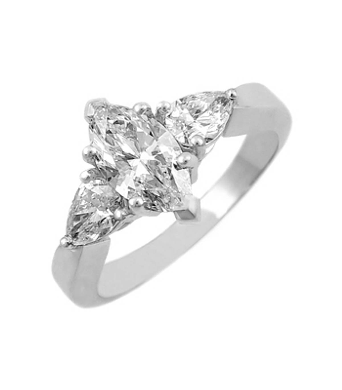 3 STONE DIAMOND RING 18k white gold 3st marquise & pearshape diamond ringDETAILSCarat: centre diamond 0.90cts / side diamonds total 0.54ctsCut: Marquise & pear shapeMetal: 18k white gold