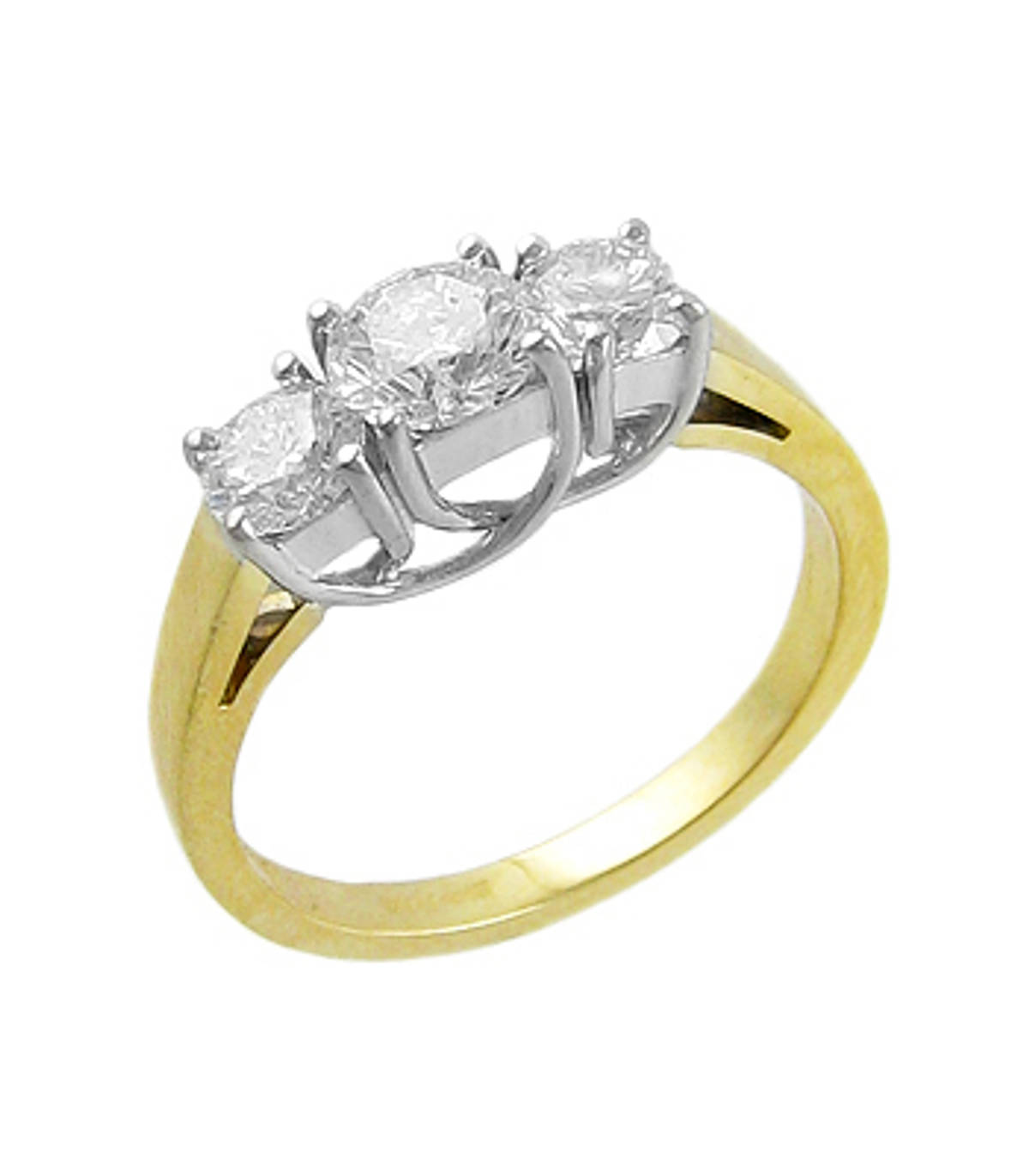 3 STONE DIAMOND RING 18k yellow & white gold 3st brilliant cut diamond ringDETAILSCarat: centre diamond 0.60cts / side 2 diamonds total 0.68ctsMetal: 18k yellow/white gold *Different sizes of diamonds available on request