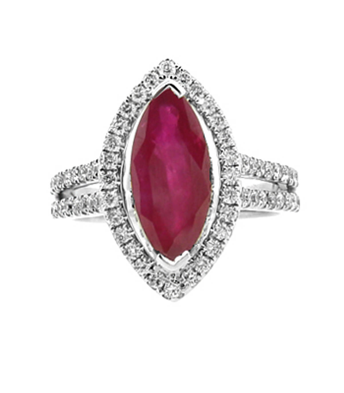 Marquise ruby(one) 1.98ct and 0.80ct(62 diamonds) diamond cluster ring in 18 carat white gold