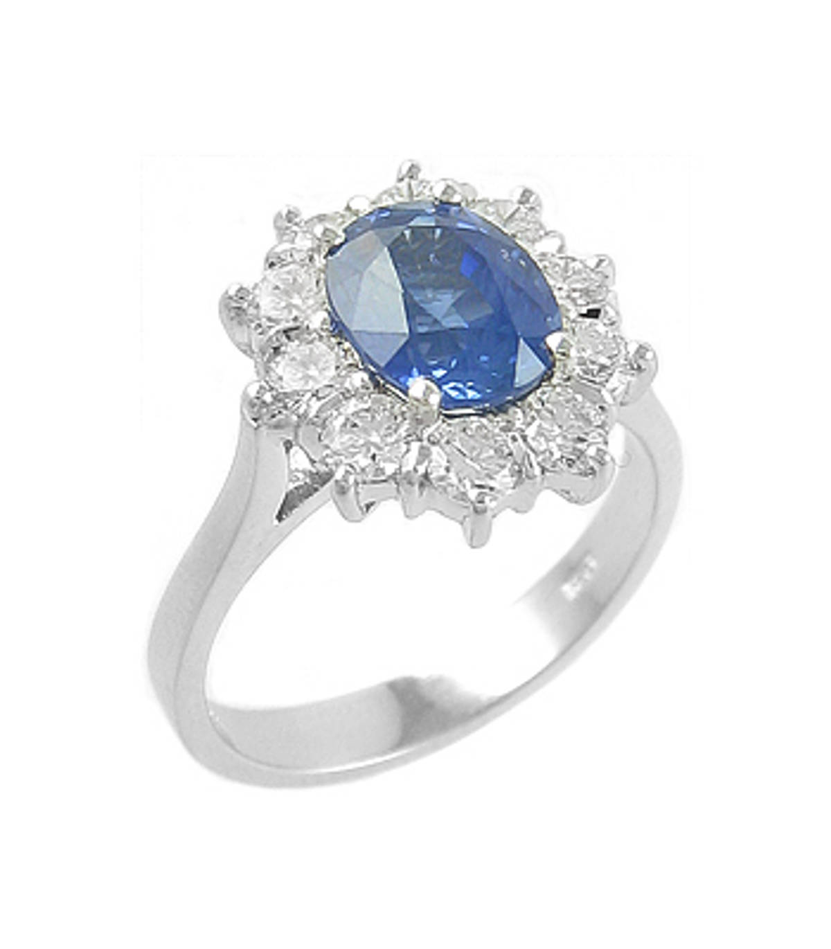 Sapphire and diamond cluster ringPictured item: sapphire: total 2.00ct/diamonds: total 1.20ct set in 18k white gold