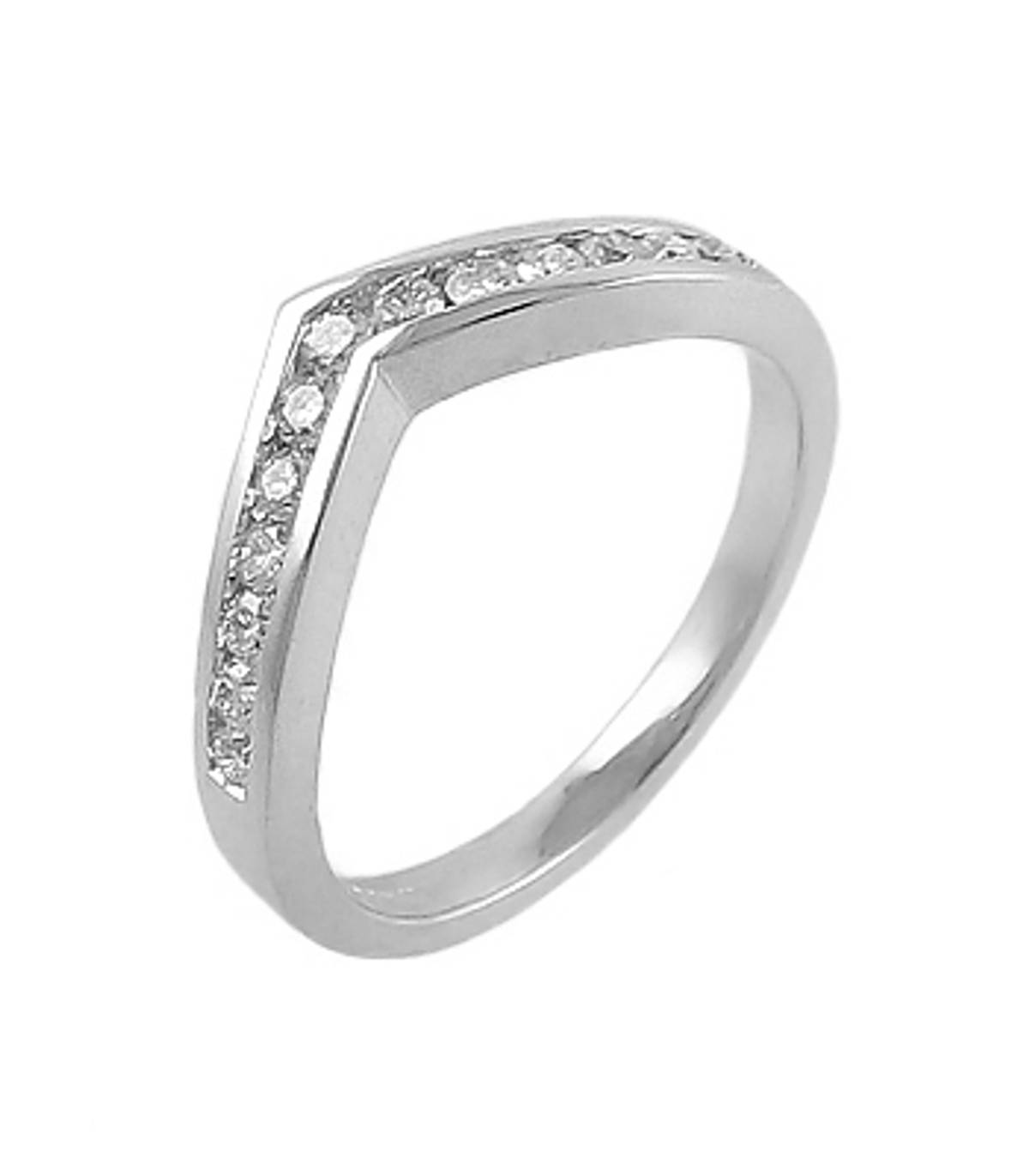 18k white gold brilliant cut 13st diamond channel set wishbone ring Carat: total diamond weight 0.35cts Metal: 18k white gold