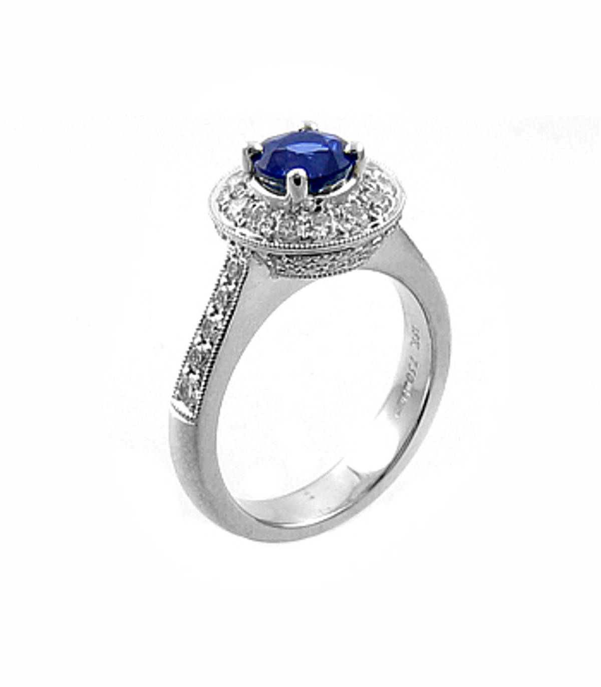 Sapphire and diamond cluster ringPictured item: sapphire: total 1.02ct/diamonds: total 0.77ct set in 18k white gold