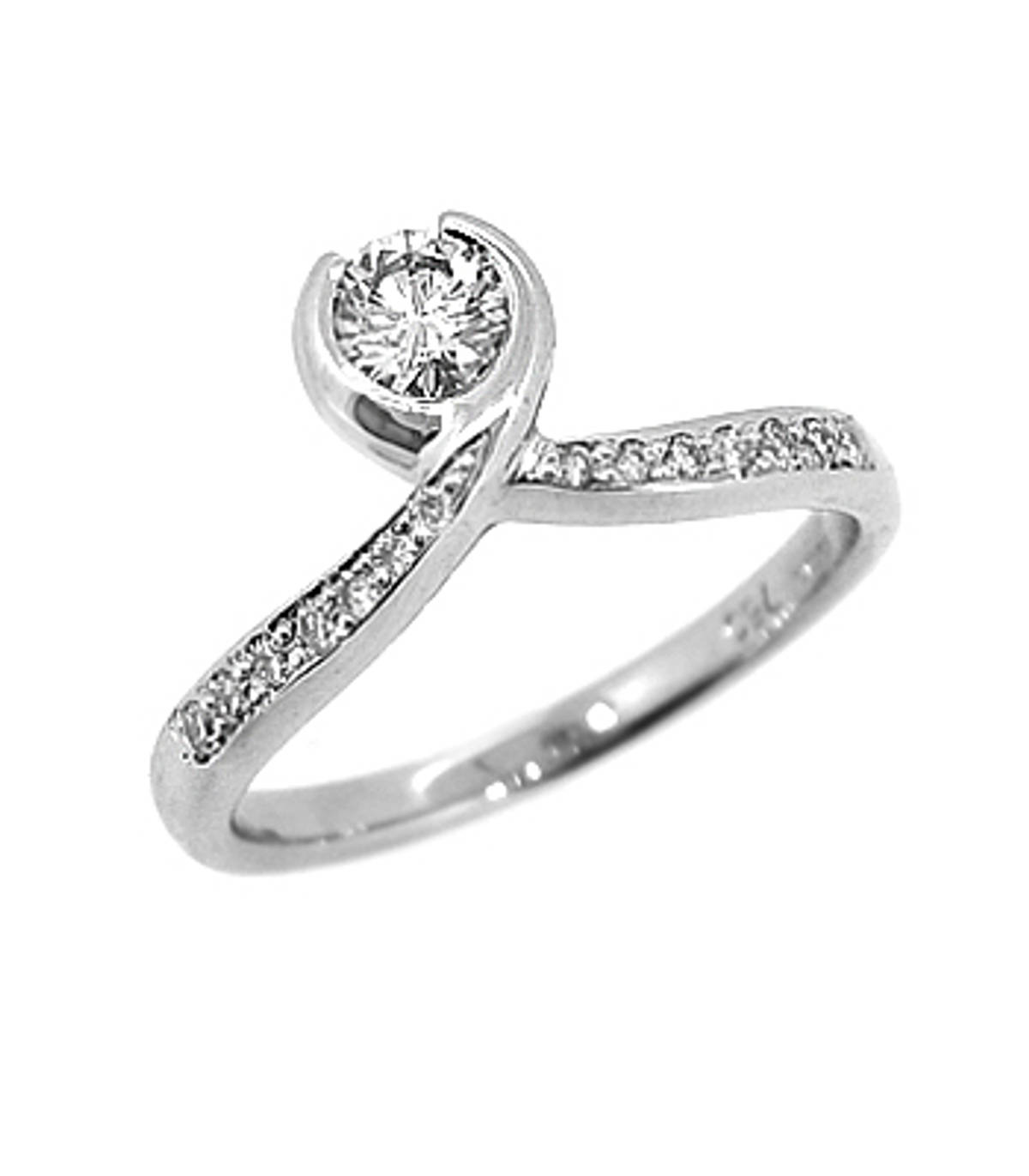 DR74207Single stone solitaire ring with diamond shouldersPictured item:  0.25ct/0.10cts brilliant cut diamond set in 18k white gold
