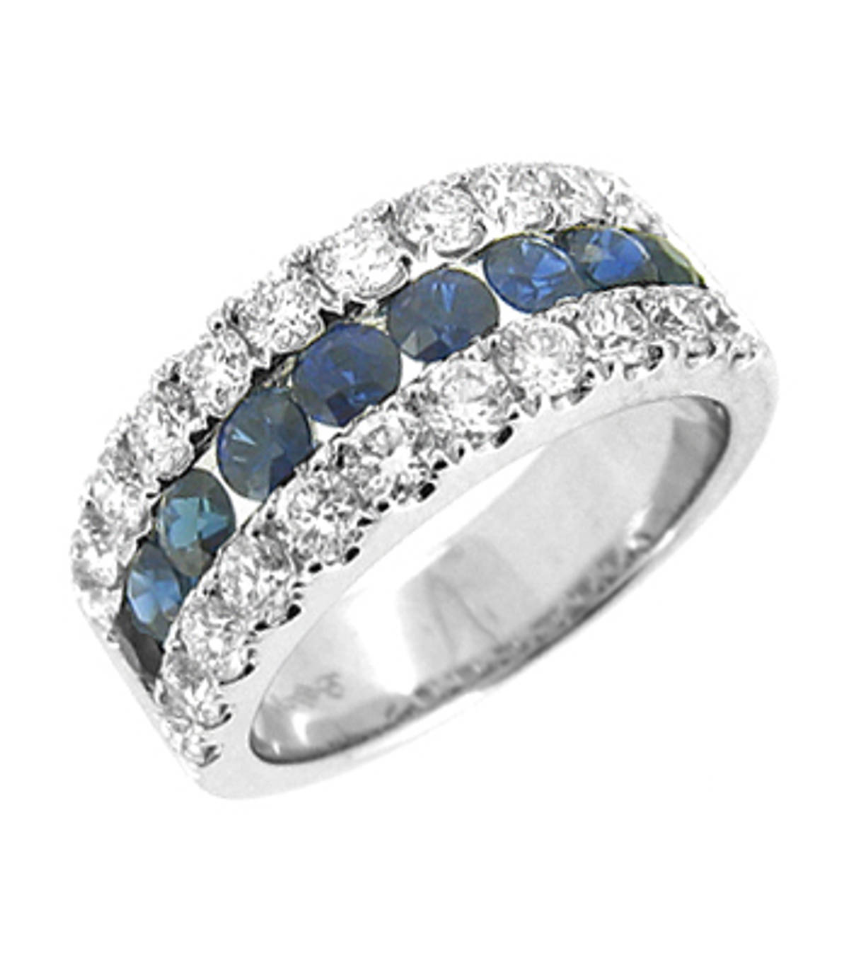 3 ROW SAPPHIRE & DIAMOND RING 18k white gold round sapphire and brilliant cut diamond 3 row cluster ringDETAILSdiamond total weight 1.44ctssapphire total weight1.21cts