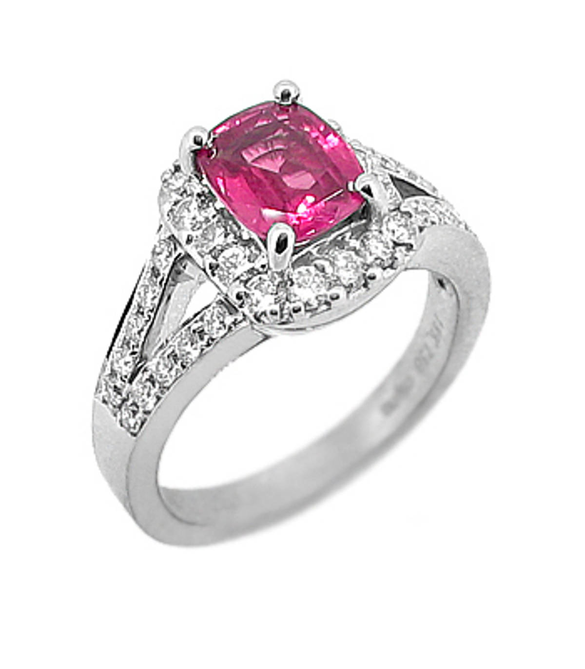 Pink sapphire and diamond cluster ringPictured item: pink sapphire: 1.51ct/diamonds: 0.61ct set in 18k white gold