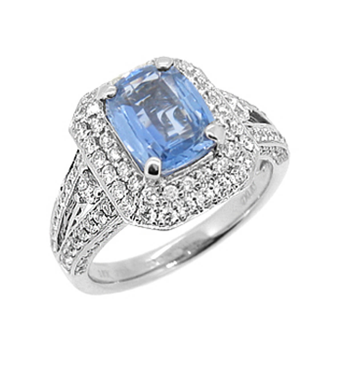 Sapphire and diamond cluster ringPictured item: sapphire total 1.72ct/diamonds total 0.85ct set in 18k white gold