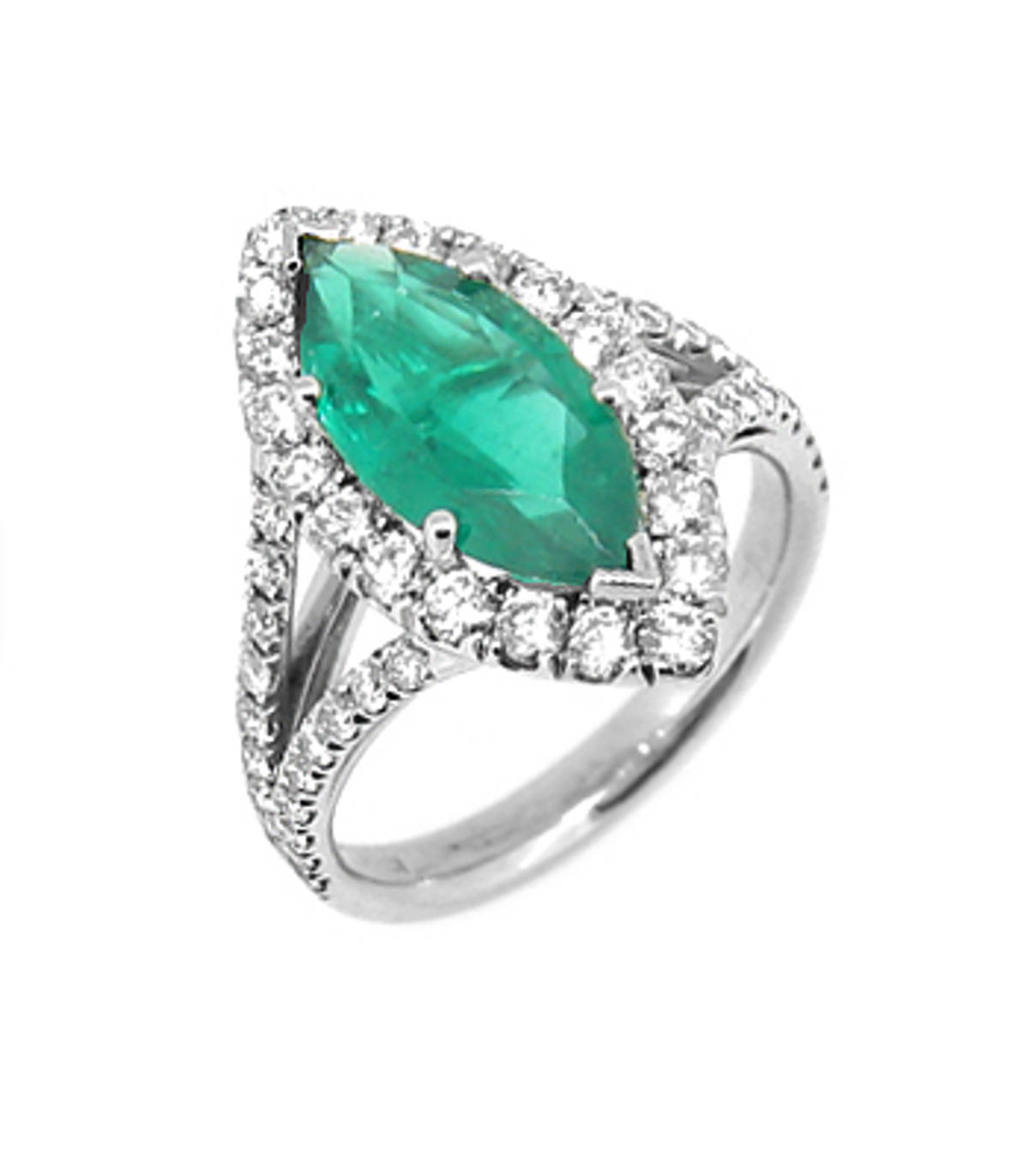 18 carat white gold engagement/dress ring with 1.80cts marquise shape emerald and with 1.02cts diamonds