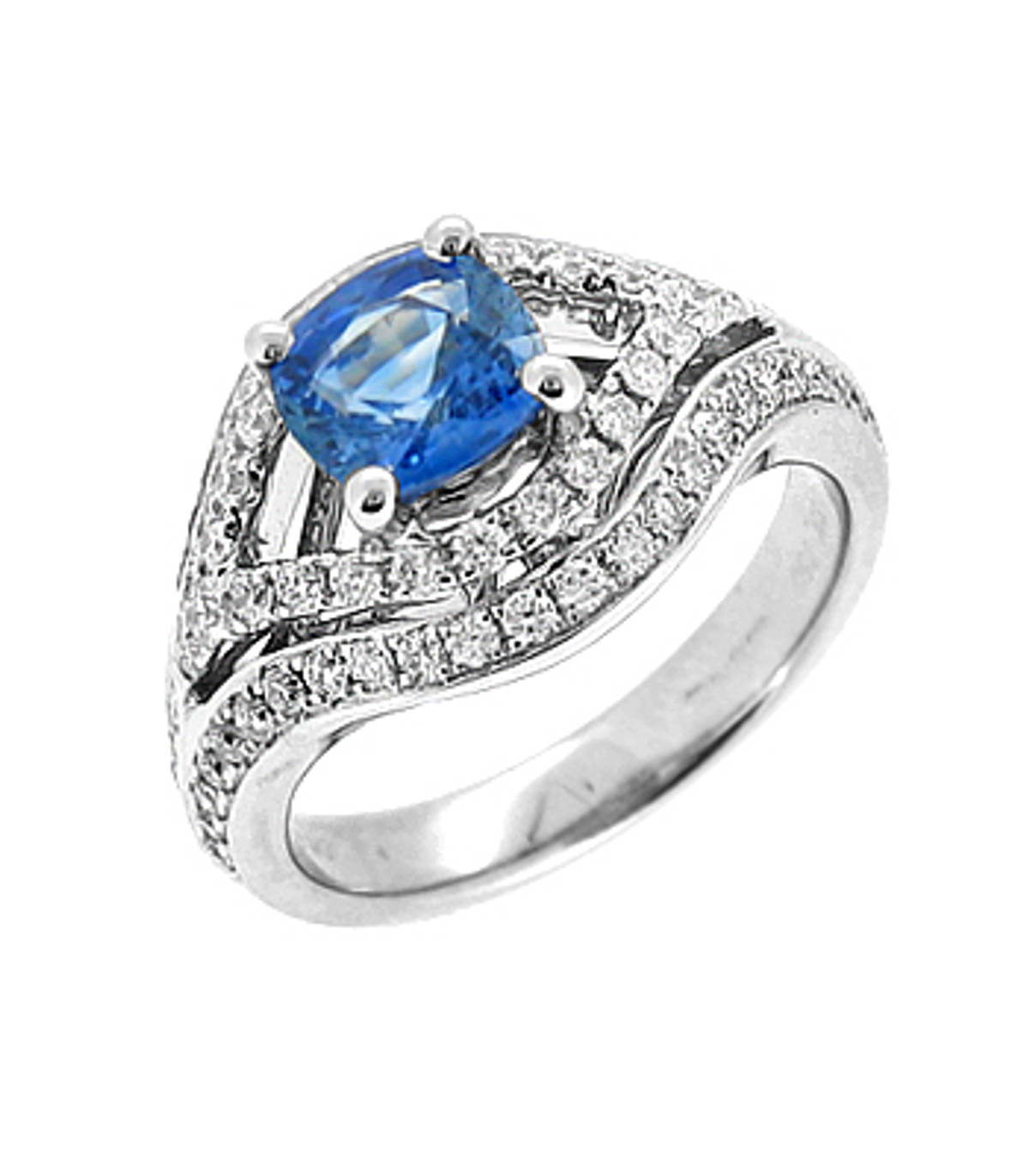 Sapphire and diamond cluster ringPictured item: sapphire: total 1.05ct/diamonds: total 0.61ct set in 18k white gold