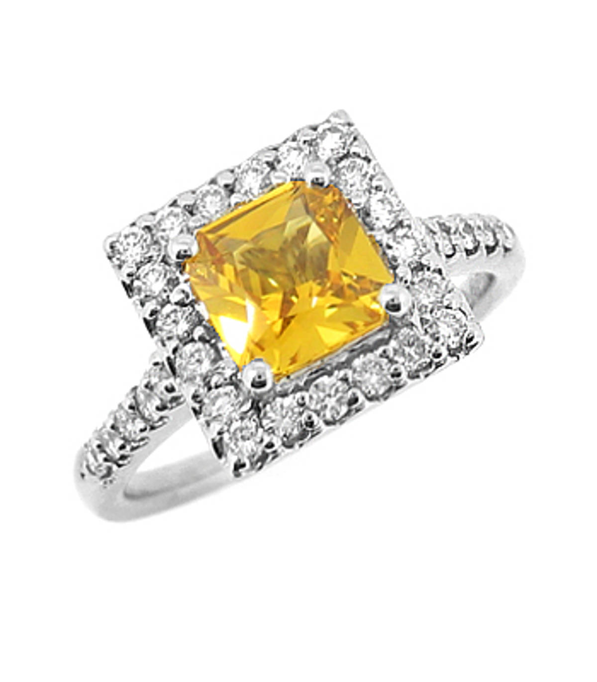 Yellow sapphire and diamond cluster ringPictured item: 1.04ct yellow sapphire/0.38ct diamond set in 18k white gold