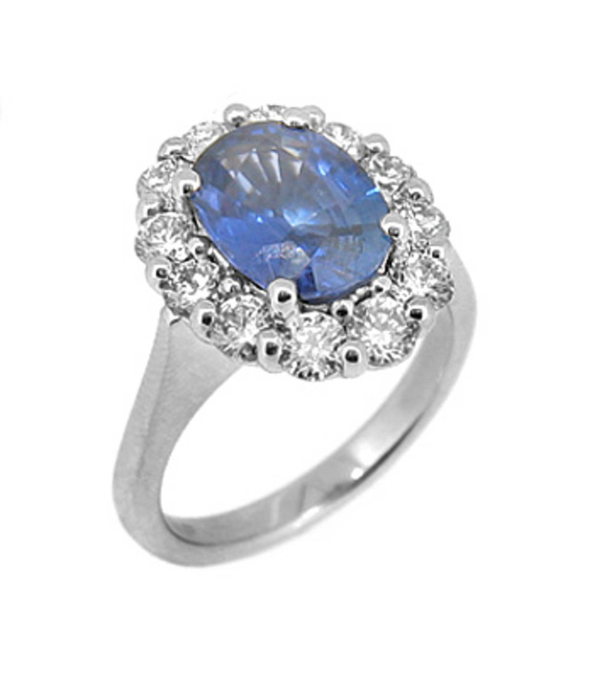 Sapphire and diamond cluster ringPictured item: sapphire: total 3.01ct/diamonds: total 1.20ct set in 18k white gold