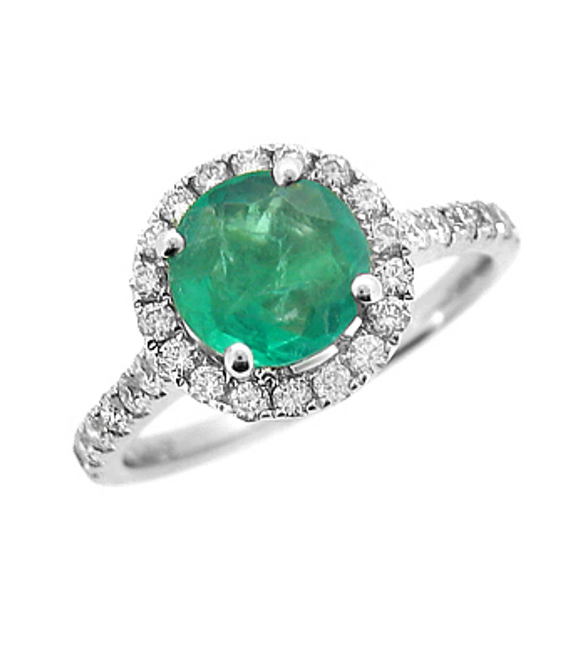 Emerald and diamond cluster ring with diamond shouldersPictured item: round emerald: 1.17ct/diamonds: brilliant cut 0.40ct set in 18k white gold