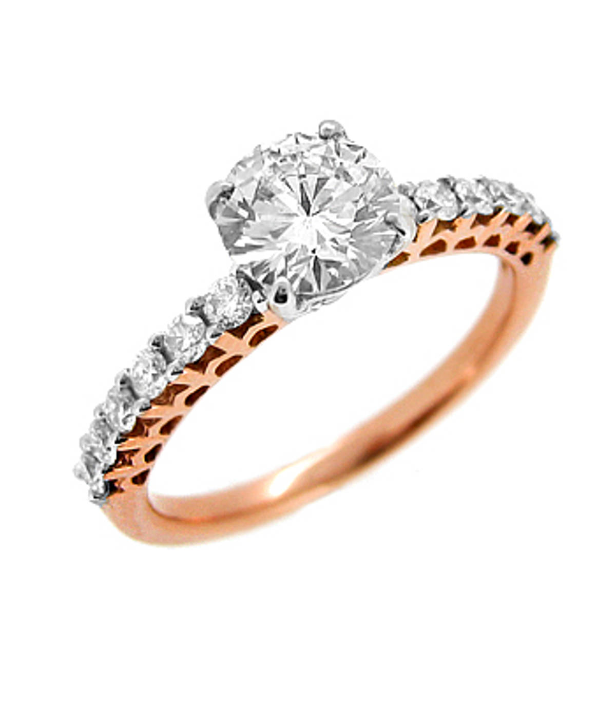 18 carat red gold and white golds/st brilliant cut diamond solitaire ring with diamond shoulderstotal diamond weight 0.97 carat