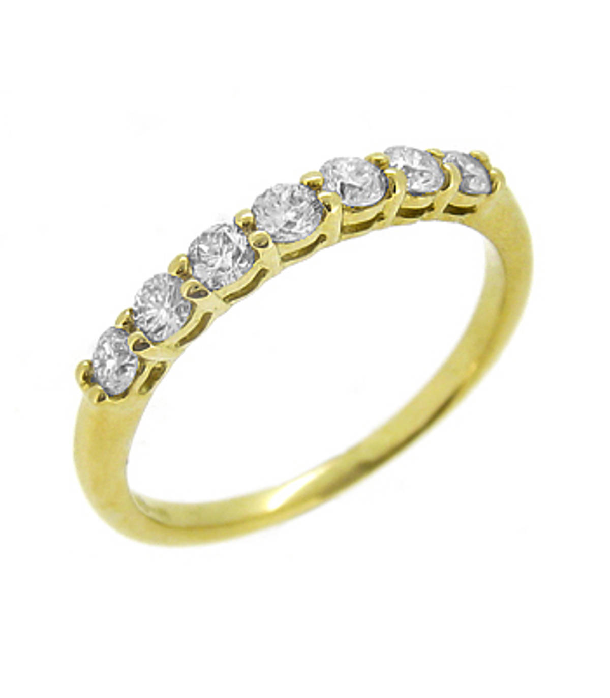 18k yellow gold 7 stone brilliant cut diamond claw set eternity ring Carat: total diamond weight 0.36cts
