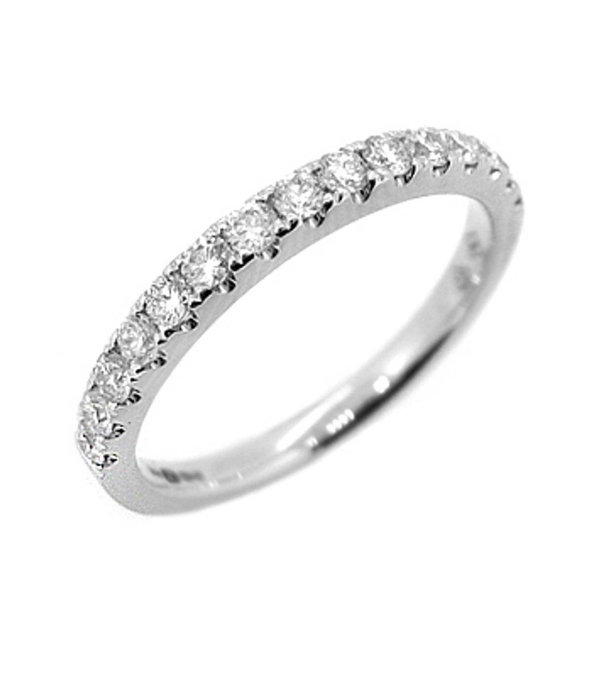 18k white gold brilliant cut diamond claw set wedding ring Carat: total diamond weight 0.40cts Metal: 18k white gold