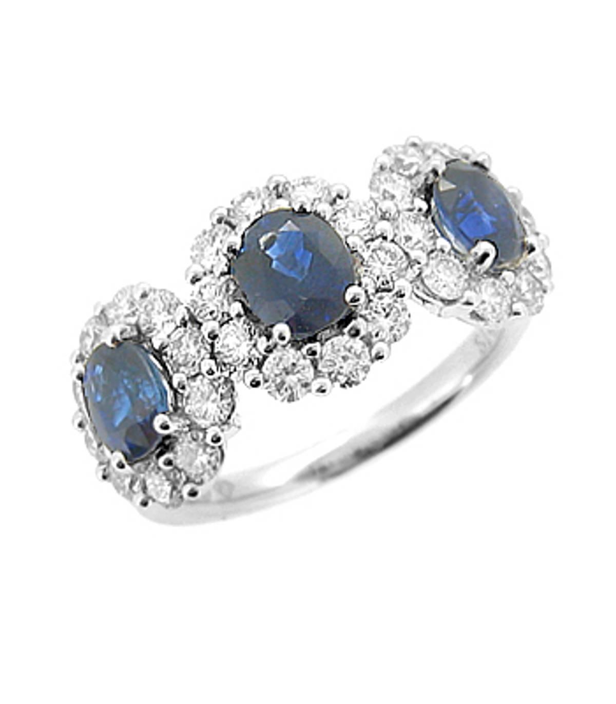 Sapphire and diamond treble cluster ringPictured item: sapphire: total 1.45ct/diamonds: total 1.09ct set in 18k white gold